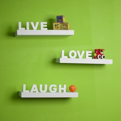 White Laminate 'Live, Love, Laugh' Inspirational Wall Shelves (Set of 3)