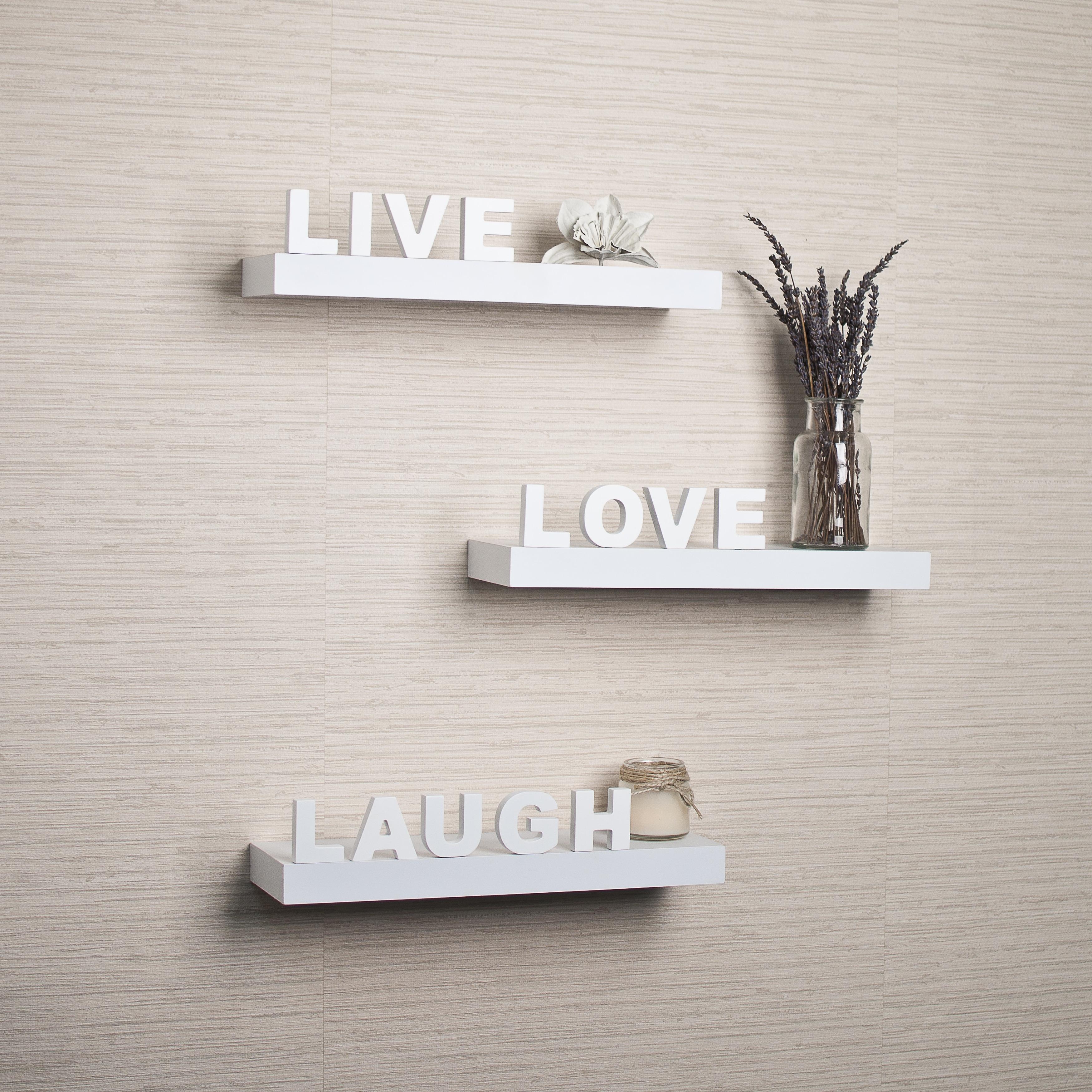 "Decorative /""Live/"" /""Love/"" /""Laugh/"" Wall Shelves Set of 3"