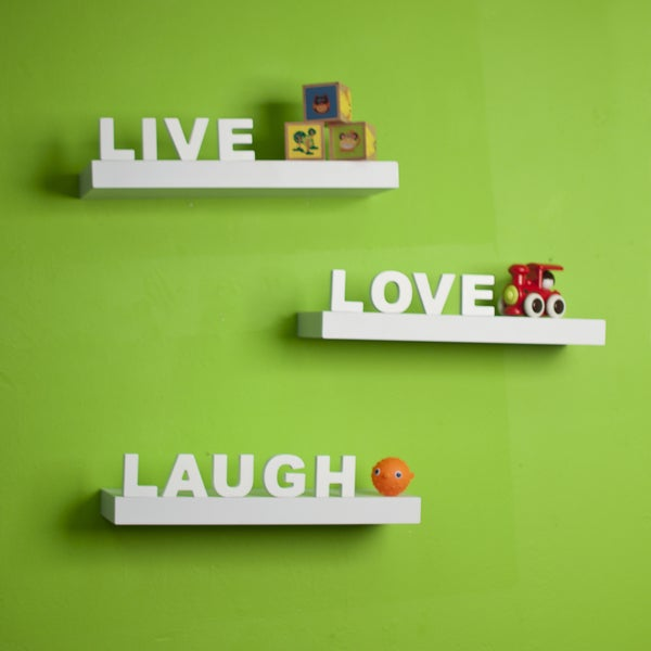 White Laminate 'Live, Love, Laugh' Inspirational Wall Shelves (Set of 3). Opens flyout.