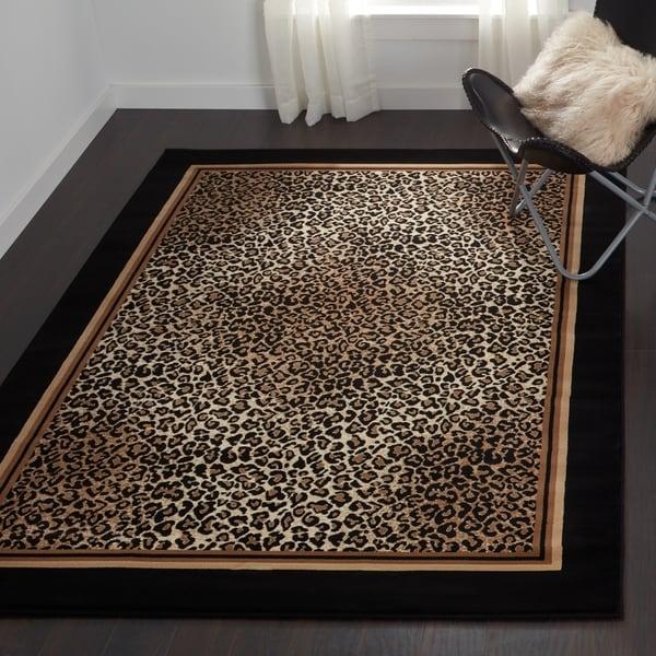 Delta Congo Ivory/ Black Leopard Print Area Rug - 3'11 x 5'3
