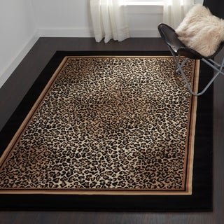 Couristan Everest Leopard/Ivory-Black Area Rug - 5'3 x 7'6