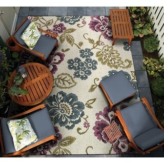 Couristan Dolce Tivoli/ Ivory-Multi Indoor/Outdoor Area Rug - 4' x 5'10