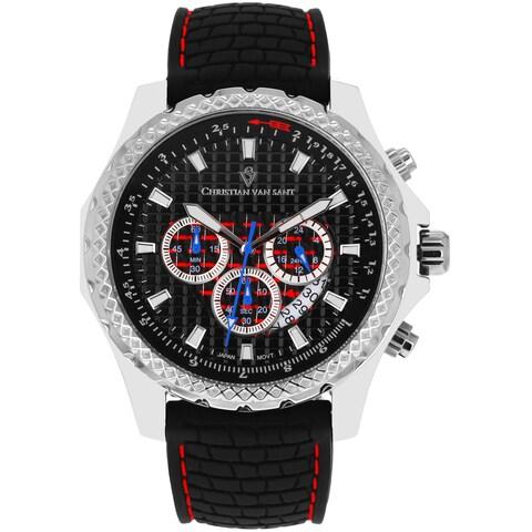Christian Van Sant Men's Sports Retrograde Black Chronograph Watch