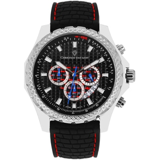 Christian Van Sant Men's Sports Retrograde Black Chronograph Watch