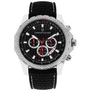 Christian Van Sant Men's Sports Retrograde Chronograph Rubber Strap Watch