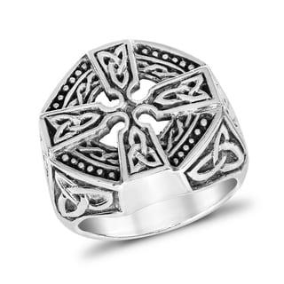Handmade Faith Eternal Celtic Knot Cross Men's .925 Sterling Silver Ring (Thailand)