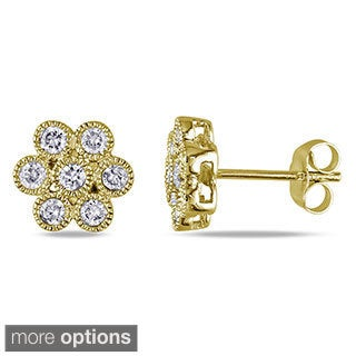 Miadora 14k Gold 1/2ct TDW Diamond Flower Earrings