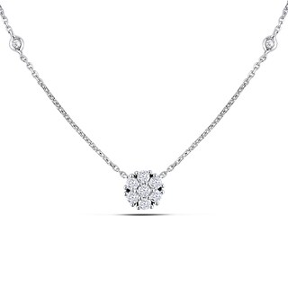 Miadora 14k White Gold 1/3ct TDW Diamond Necklace (G-H, SI1-Si2)