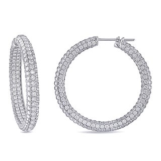 Miadora Signature Collection 18k White Gold 15 3/4ct TDW Pave Diamond Hoop Earrings
