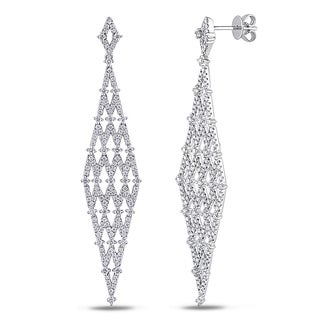 Miadora Signature Collection 14k White Gold 1 3/5ct TDW Diamond Chandelier Earrings