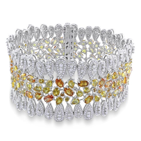 Miadora Signature Collection 14k Two-tone Gold Yellow Sapphire 6 1/3ct TDW Diamond Bracelet (G-H, SI1-SI2)