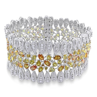 Miadora Signature Collection 14k Two-tone Gold Yellow Sapphire 6 1/3ct TDW Diamond Bracelet (G-H, SI1-SI2)