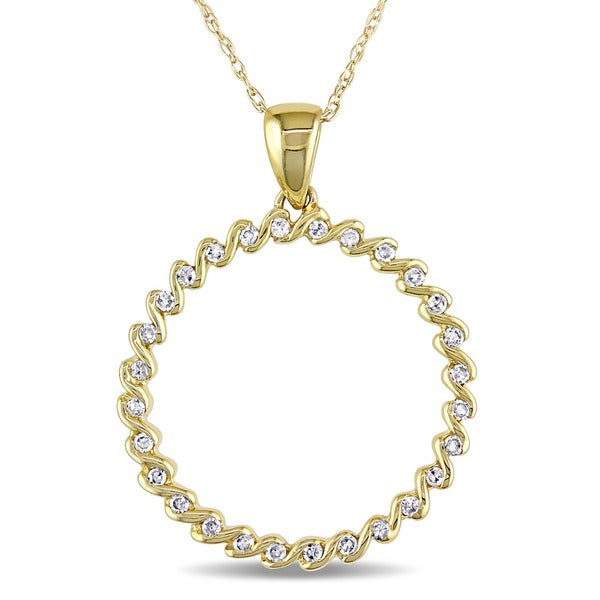 Miadora 10k Yellow Gold 1/6ct TDW Diamond Circle of Life Necklace