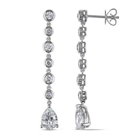 Miadora Signature Collection 14k White Gold 2 3/4ct TDW Certified Pear Cut Diamond Drop Earring