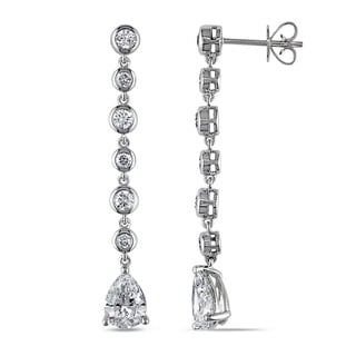 Miadora Signature Collection 14k White Gold 2 3/4ct TDW Certified Pear Cut Diamond Drop Earring (D-E, VS1-VS2) (GIA)