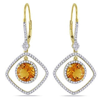 Miadora Signature Collection 14k Gold Citrine and 3/4ct TDW Diamond Earrings (G-H, SI1-SI2)