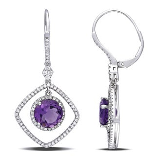 Miadora Signature Collection 14k White Gold Amethyst and 3/4ct TDW Diamond Earrings (G-H, SI1-SI2)