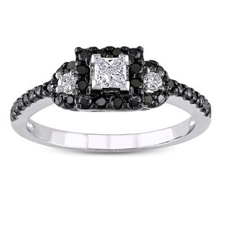 Miadora 10k White Gold 1/2ct TDW Black and White Diamond Ring