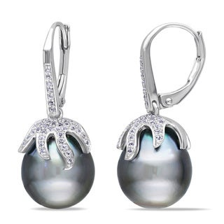 Miadora Sterling Silver Tahitian Pearl and White Topaz Earrings (12-12.5 mm)