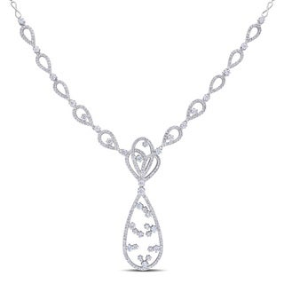 Miadora Signature Collection 14k White Gold 3 3/8ct TDW Open Teardrop Diamond Necklace (G-H, SI1-SI2)
