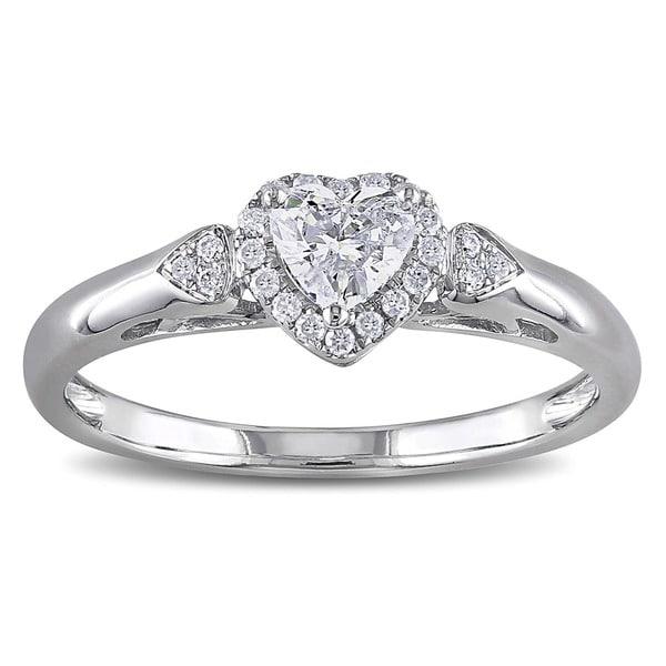 Miadora Signature Collection 14k White Gold 2/5ct TDW Diamond Heart Ring