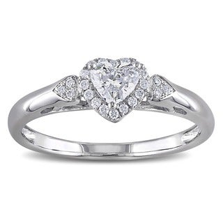 Miadora Signature Collection 14k White Gold 2/5ct TDW Diamond Heart Ring