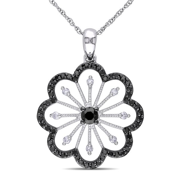 Miadora 10k White Gold 1/2ct TDW Black and White Diamond Flower Necklace