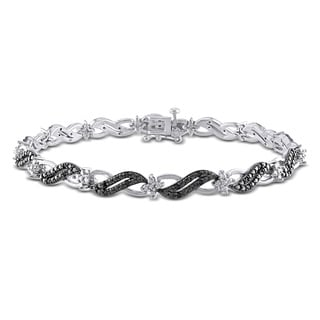Miadora Sterling Silver 1/4ct TDW Black Diamond Infinity Bracelet