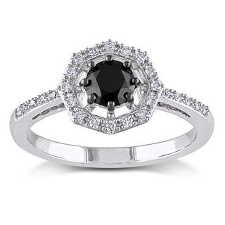 Miadora 10k White Gold 3/4ct TDW Black and White Diamond Halo Engagement Ring