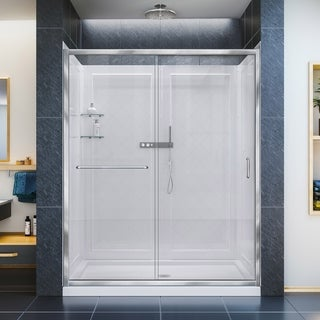DreamLine Infinity-Z Frameless Sliding Shower Door, 32 in. x 60 in. Single Threshold Shower Base and QWALL-5 Shower Backwall Kit