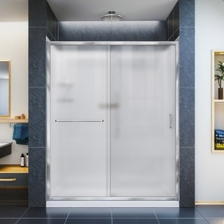 DreamLine Infinity-Z 32 in. D x 60 in. W x 76 3/4 in. H Sliding Shower Door, Shower Base and Backwall Kit, Frosted Glass