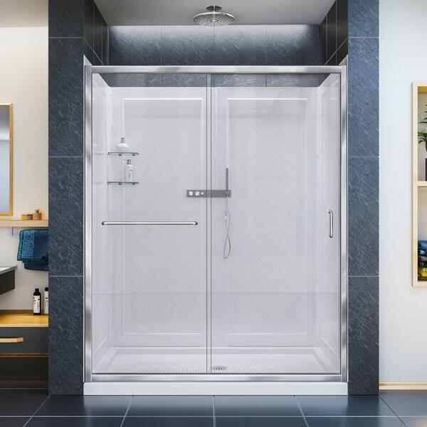 DreamLine Infinity-Z Frameless Sliding Shower Door, 36 in. x 60 in. Single Threshold Shower Base and QWALL-5 Shower Backwall Kit