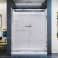 DreamLine Infinity-Z Frameless Sliding Shower Door, 36 in. x 60 in. Single Threshold Shower Base and QWALL-5 Shower Backwall Kit