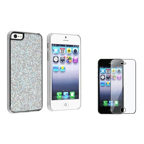 INSTEN Silver Glitter Phone Case Cover/ Screen Protector for Apple iPhone 5/ 5S