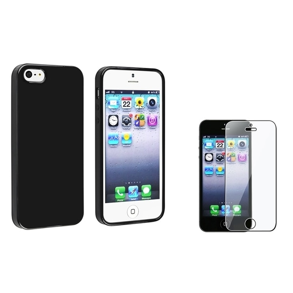 INSTEN Black Jelly TPU Phone Case/ Screen Protector for Apple iPhone 5/ 5C/ 5S/ SE