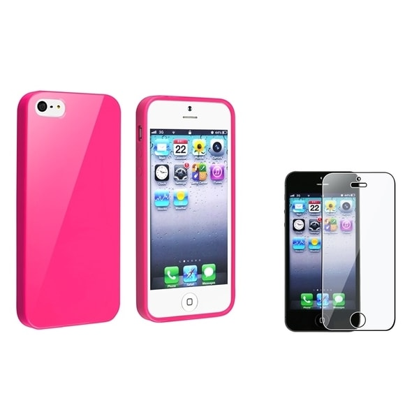 INSTEN Hot Pink Jelly TPU Phone Case Cover/ LCD Protector for Apple iPhone 5/ 5S