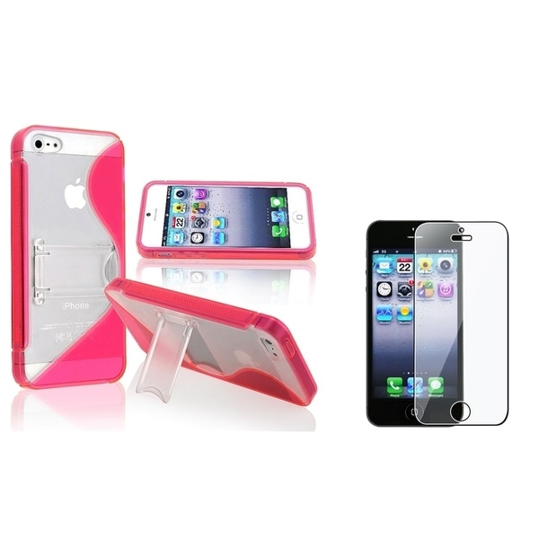 BasAcc Hot Pink Case with Stand/ LCD Protector for Apple iPhone 5/ 5S