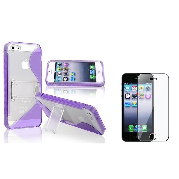 INSTEN Purple Phone Case Cover with Stand/ LCD Protector for Apple iPhone 5/ 5S