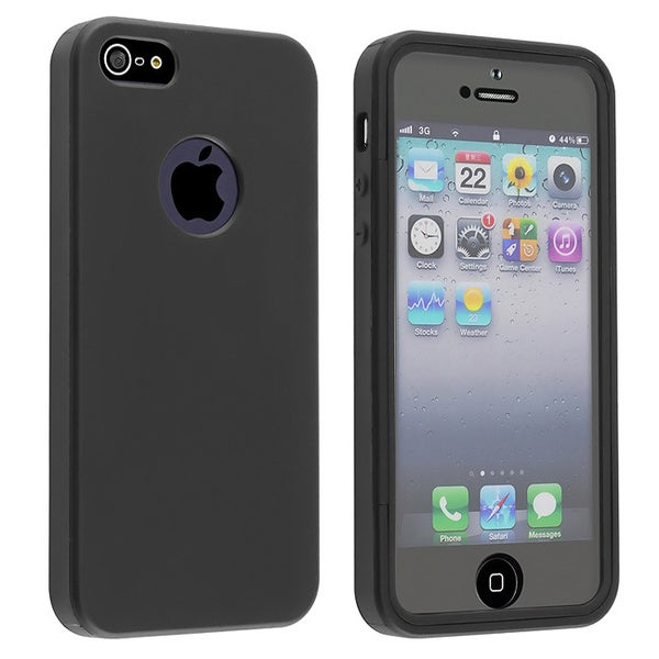 INSTEN Black/ Clear Frost Phone Case Cover/ LCD Protector for Apple iPhone 5/ 5S