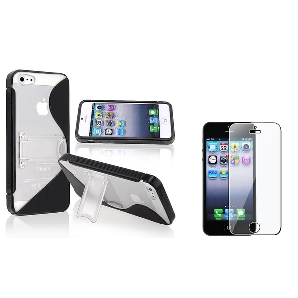 INSTEN Black Phone Case Cover with Stand/ LCD Protector for Apple iPhone 5/ 5S