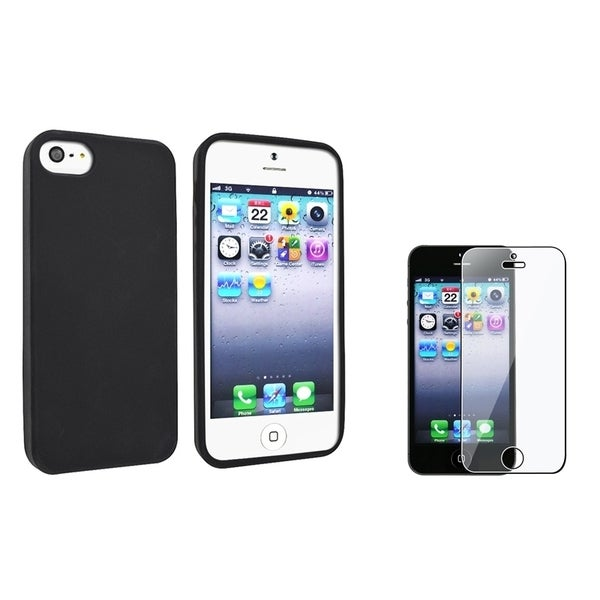 INSTEN Black Skin Phone Case Cover/ Screen Protector for Apple iPhone 5/ 5S