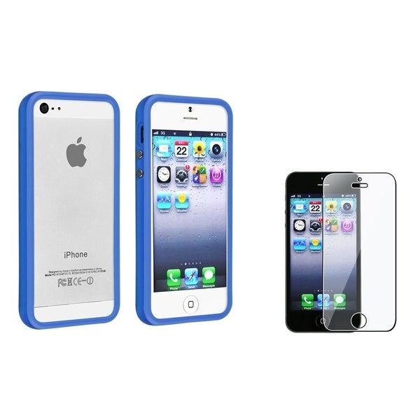 INSTEN Dark Blue Bumper Phone Case Cover/ Screen Protector for Apple iPhone 5/ 5S