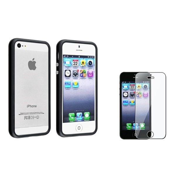 INSTEN Black Bumper Phone Case Cover/ Screen Protector for Apple iPhone 5/ 5S