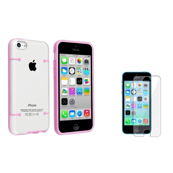 BasAcc Clear with Light Pink Case/ LCD Protector for Apple iPhone 5C