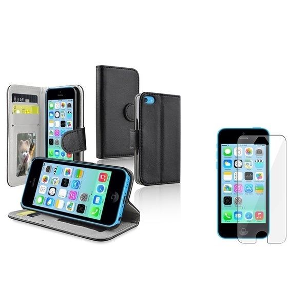 INSTEN Black Leather Wallet Phone Case Cover/ LCD Protector for Apple iPhone 5C