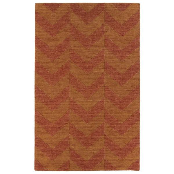 Hand Carved Paprika Chevron Wool Rug (8' x 11')