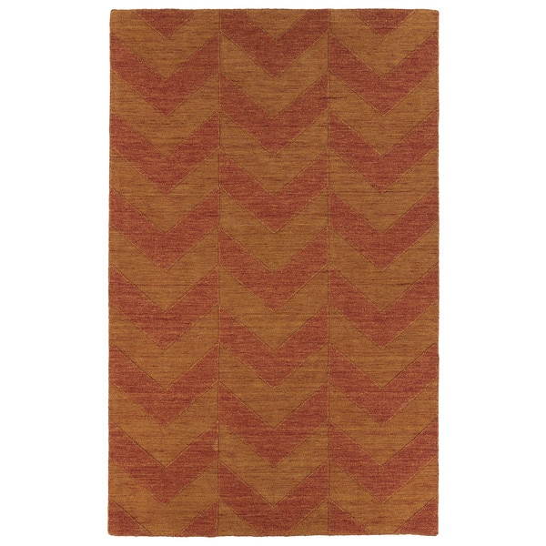 Hand Carved Paprika Chevron Wool Rug - 5' x 8'