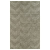 Hand Carved Light Brown Chevron Wool Rug - 5' x 8'