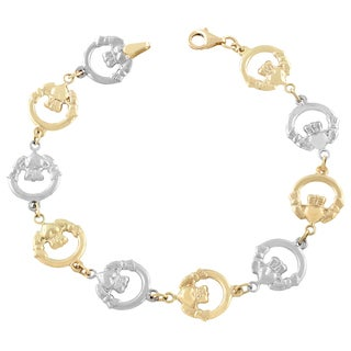 Fremada 10k Two-tone Gold Claddagh Bracelet