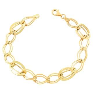 Fremada 10k Yellow Gold Wavy Oval Bracelet